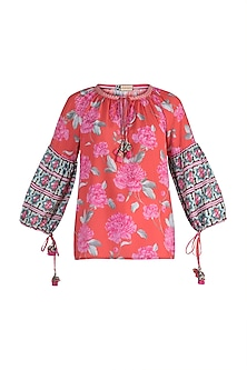 Pink Embroidered Printed Top by GOPI VAID