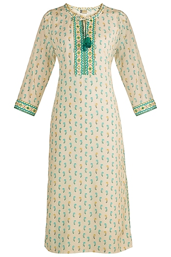 Beige Embroidered Printed Tunic by GOPI VAID