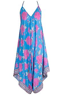 Blue Floral Printed Jumpsuit by GOPI VAID