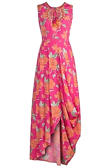 Pink Embroidered Printed Tunic by GOPI VAID