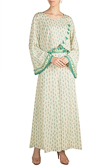 Beige Floral Printed Top With Palazzo Pants by GOPI VAID