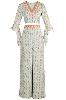 Sky Blue Embroidered Printed Top With Palazzo Pants by GOPI VAID