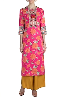 Pink Embroidered & Floral Printed Tunic by GOPI VAID