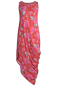 Red Embroidered Printed Cowl Dress by GOPI VAID