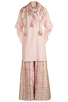 Blush Pink Embroidered Printed Tunic Set by GOPI VAID