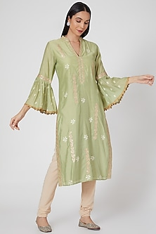 Mint Green Cotton Silk Tunic by GOPI VAID
