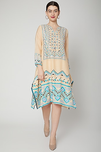 Beige Embroidered & Printed Kaftan Tunic by GOPI VAID