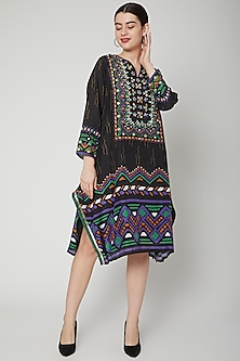 Black Embroidered & Printed Tunic by GOPI VAID