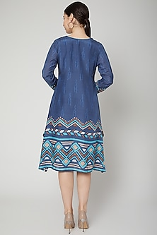 Navy Blue Printed & Embroidered Kaftan Tunic by GOPI VAID