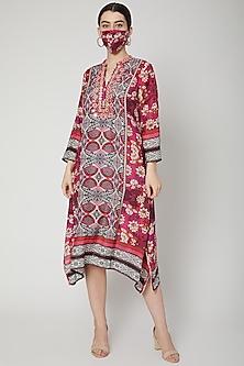Fuchsia Embroidered Kaftan Tunic by GOPI VAID