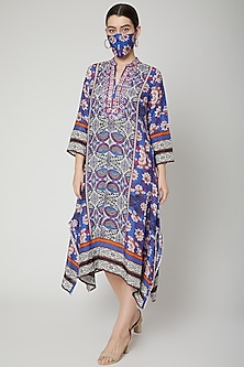 Cobalt Blue Embroidered Kaftan Tunic by GOPI VAID
