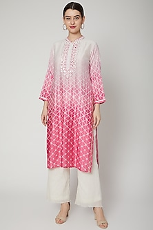 Pink & White Printed Ombre Tunic by GOPI VAID