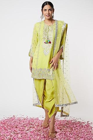 Lime Motifs Embroidered Kurta Set by GOPI VAID