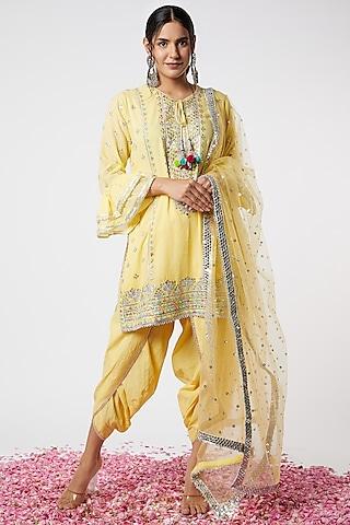 Yellow Motifs Embroidered Kurta Set by GOPI VAID