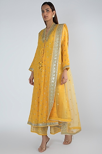 Yellow Embroidered Jacket Styled Tunic Set by GOPI VAID