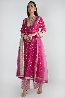 Fuchsia Embroidered Jacket Styled Tunic Set by GOPI VAID