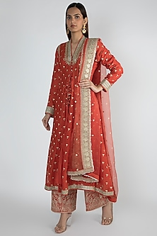 Red Embroidered Jacket Styled Tunic Set by GOPI VAID