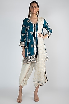 Peacock Blue Embroidered Jacket Styled Tunic Set by GOPI VAID