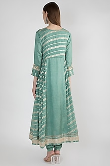 Teal Embroidered Kalidar Kurta Set by GOPI VAID