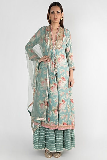 Teal Embroidered Jacket Style Kurta Set by GOPI VAID