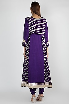 Purple Embroidered Kalidar Kurta Set by GOPI VAID