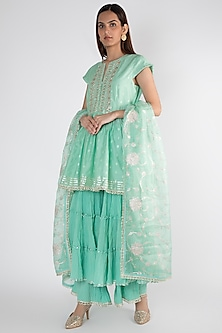 Aqua Embroidered Kurta Set by GOPI VAID