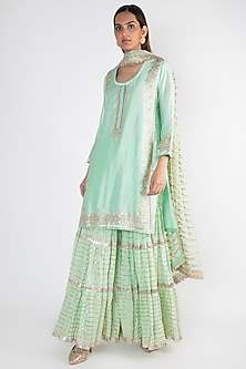 Aqua Embroidered Short Kurta Set by GOPI VAID
