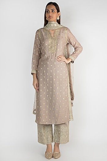 Taupe Embroidered Kurta Set by GOPI VAID