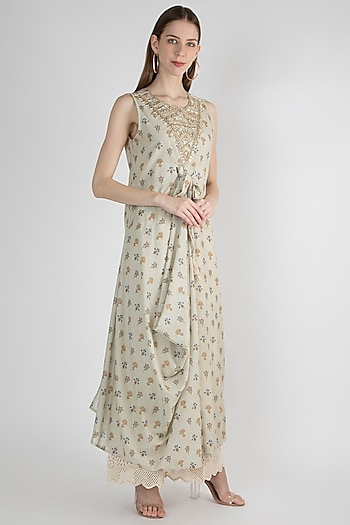 Beige Embroidered Dress by GOPI VAID