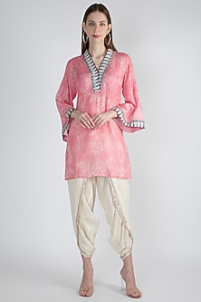 Blush Pink Embroidered Shirt by GOPI VAID