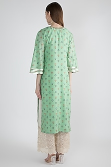 Mint Green Embroidered Tunic by GOPI VAID