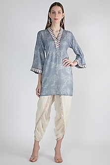 Grey Embroidered Shirt by GOPI VAID