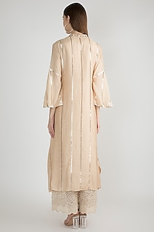 Beige Embroidered Kaftan Tunic by GOPI VAID