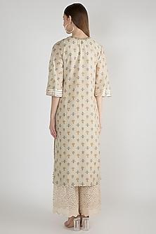 Beige Embellished & Printed Long Kurta by GOPI VAID