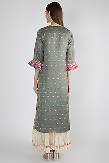Teal Green Printed & Embellished Tunic by GOPI VAID