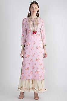 Blush Pink Printed & Embroidered Kurta by GOPI VAID