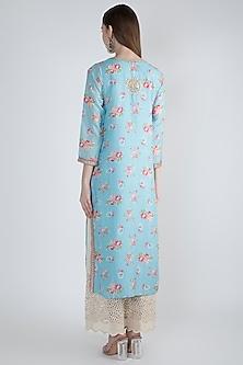 Sky Blue Printed & Embroidered Kurta by GOPI VAID