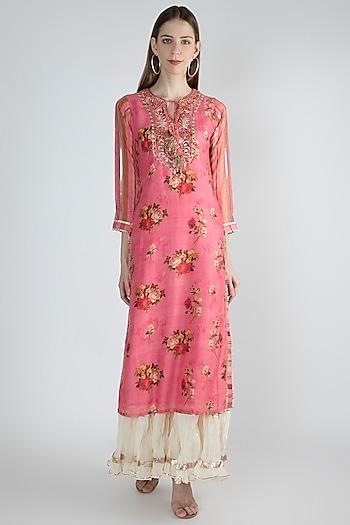Pink Printed & Embroidered Kurta by GOPI VAID