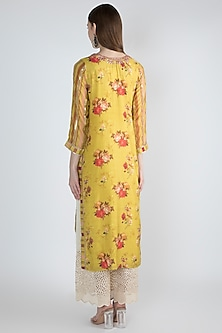 Yellow Printed & Embroidered Kurta by GOPI VAID