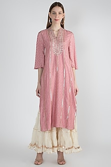 Pink Striped Embroidered Kurta by GOPI VAID