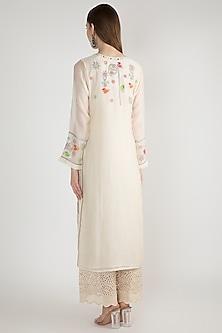 Off White Aari Embroidered Kurta by GOPI VAID