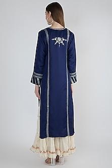 Cobalt Blue Embroidered Long Kurta by GOPI VAID