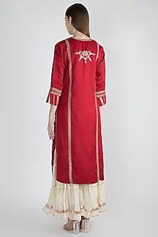 Red Embroidered Long Kurta by GOPI VAID