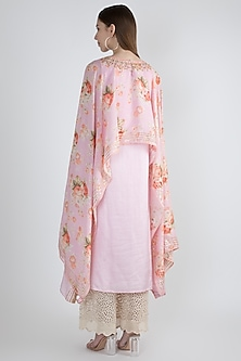 Blush Pink Printed & Embroidered Cape Dress by GOPI VAID