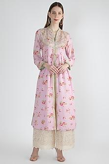 Blush Pink Gathered Printed & Embellished Tunic by GOPI VAID