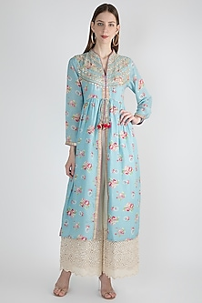 Sky Blue Gathered Printed & Embellished Tunic by GOPI VAID