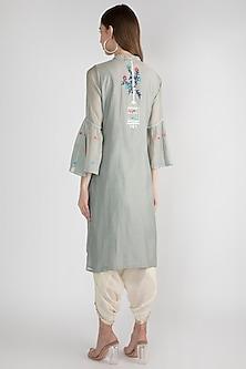 Grey Chanderi Embroidered Shirt by GOPI VAID