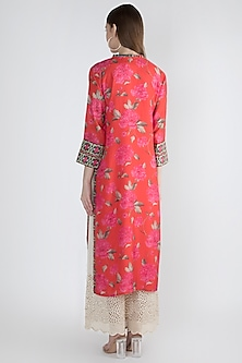 Red Printed & Embroidered Kurta by GOPI VAID