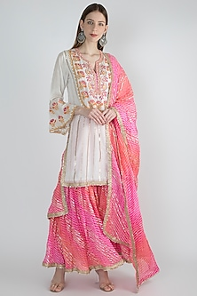Beige Embroidered Leheriya Sharara Set by GOPI VAID
