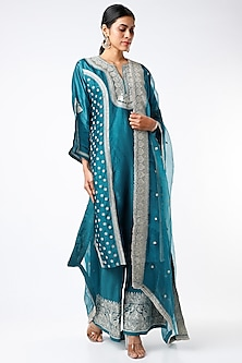 Peacock Blue Embroidered Tunic Set by GOPI VAID-POPULAR PRODUCTS AT STORE